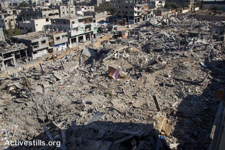 אוהלים של תושבים פלסטינים ממוקמים בין חורבות שכונת שג׳יעה, מזרח העיר עזה, ה-4 לספטמבר, 2014. (אקטיבסטילס)