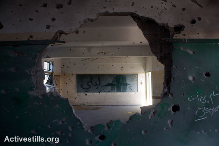כיתת בית ספר הרוסה בבית הספר סובהי אבו-קארש, אשר הופצץ על ידי הצבא במהלך המתקפה על שכונת שג׳עיה. מזרח עזה, ה-4 לספטמבר, 2014. (אקטיבסטילס)