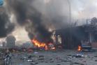 מאפיה בעיר רקה עולה באש. עשרות אנשים נהרגו בהפצצת אסד (צילום מסך מיו-טיוב)