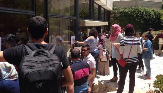 התאספות הסטודנטים. 10 ביוני 2014. צילום מדף הפייסבוק של תא בל״ד באוניברסיטה העברית