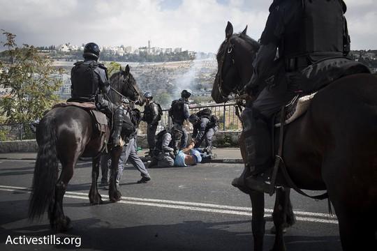 שוטרים עוצרים מפגין (אקטיבסטילס)