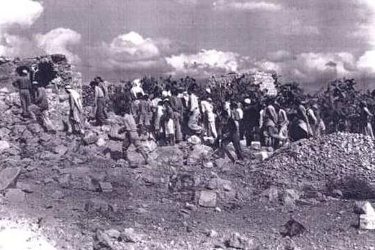 ההרס בקיביה לאחר הטבח