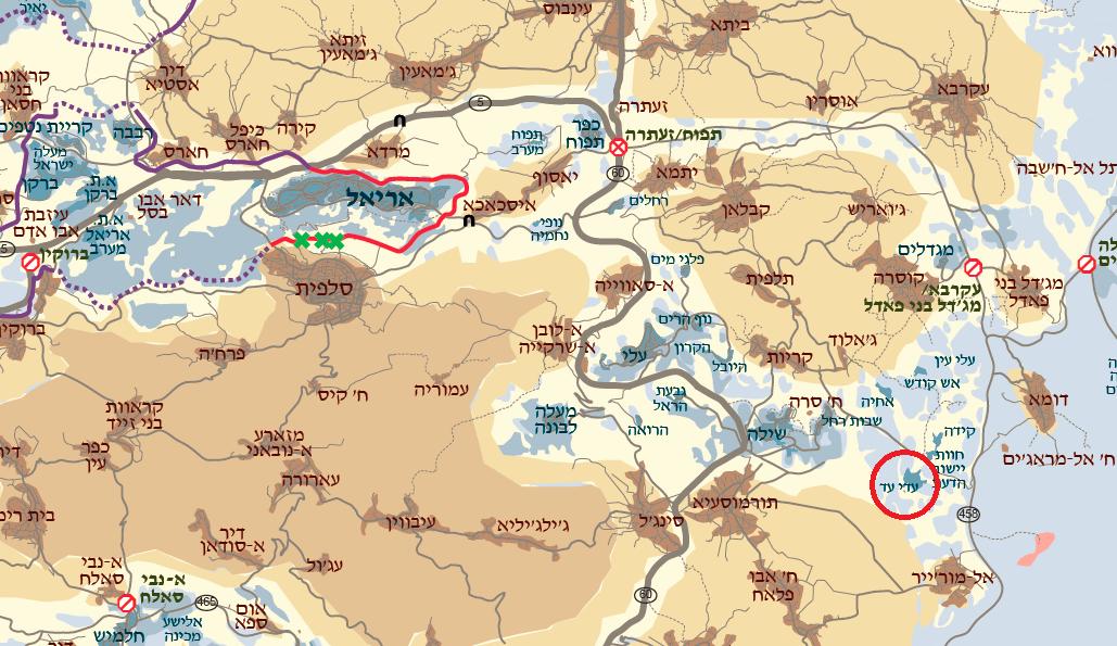 בעיגול אדום: מאחז עדי עד (מפה: בצלם)