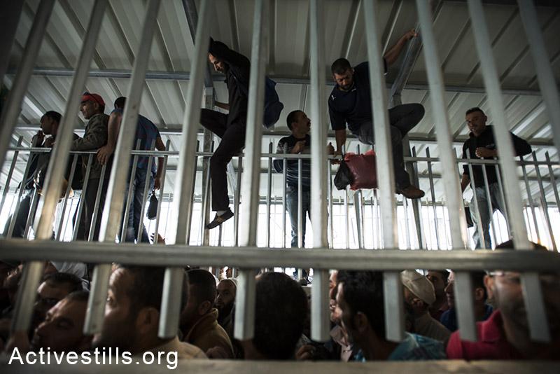 פועלים פלסטינים מטפסים על גדרות על מנת לעקוף את התור הצפוף במחסום המפריד בין בית לחם לירושלים. 12 ביוני, 2014. (ריאן רודריק ביילר/אקטיבסטילס)