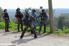 """שוטרי מג""""ב יורים גז מדמיע בהפגנה בכפר קדום (יותם רונן / אקטיבסטילס)"""