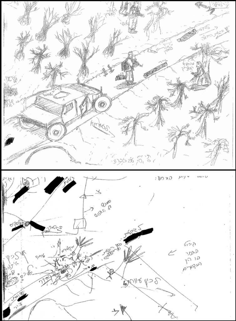 איורי החיילים הסותרים. למעלה: איורו של ל' שנשאר ברכב. למטה: איורו של א'.