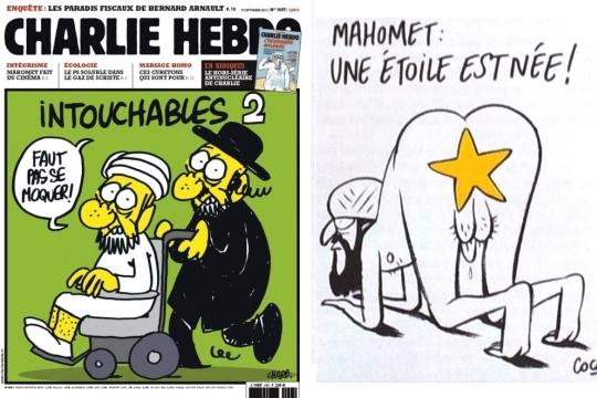 """שער המגזין """"שארלי הבדו"""" לצד קריקטורה שהתפרסמה בו. הכתובות: """"מוחמד, כוכב נולד"""" (ימין), ו""""אלו שאי אפשר לגעת בהם"""" (משמאל, מעל איור של רבי ומוסלמי."""