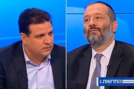 אריה דרעי ואיימן עודה בעימות בערוץ 2 (צילום מסך)