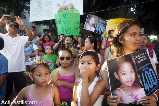 הפגנה נגד גירוש מהגרי ומהגרות עבודה וילדיהן (יותם רונן/אקטיבסטילס)