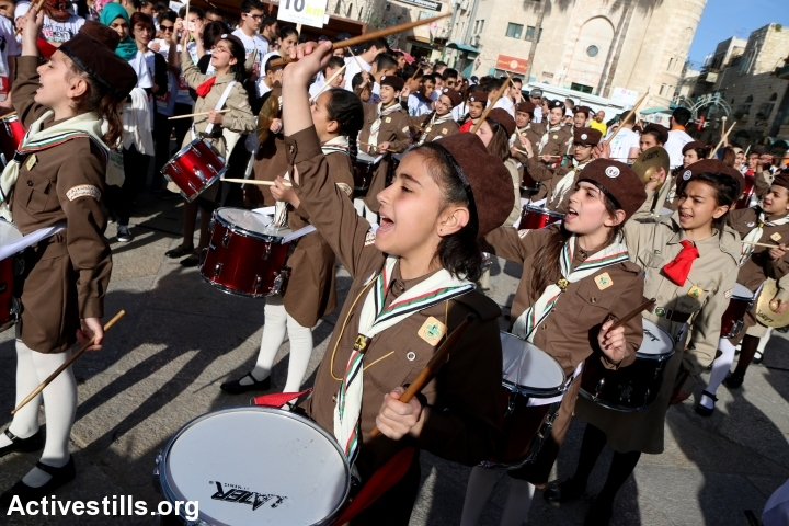 להקת צופים מתופפת לכבוד מרתון בית לחם (אחמד אל-באז / אקטיבסטילס)