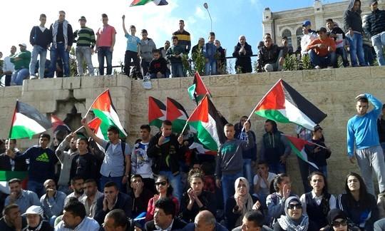 הפגנת יום האדמה בשער שכם בירושלים המזרחית (צילום: אורלי נוי)