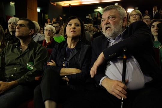 אילן גילאון, זהבה גלאון ומוסי רז בעת פרסום תוצאות בחירות 2015 (ניר קידר)