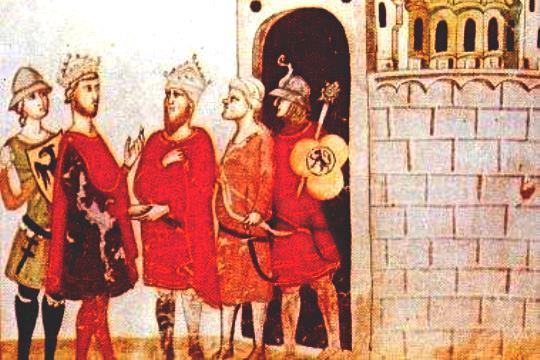 פרדריק השני ואלכמאל נפגשים בשערי ירושלים, איור מתוך כתב יד. (ויקימדיה קומונז)