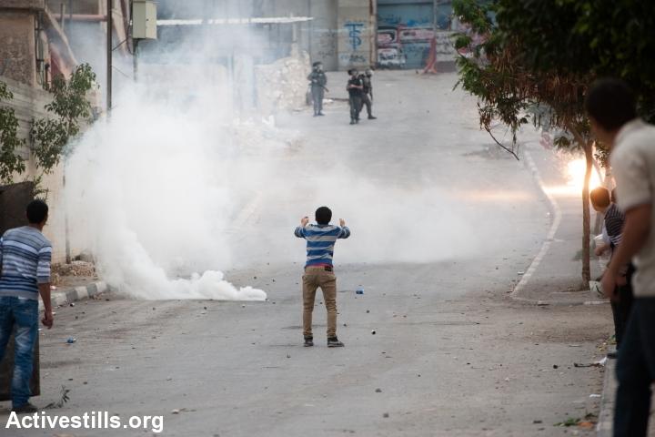 עימותים בין פלסטינים לצבא במחנה הפליטים עאידה בבית לחם (ריאן רודריק ביילר/אקטיבסטילס)