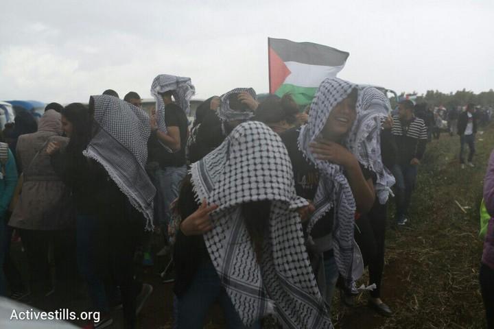 מזג אוויר סוער וגשום בצעדת השיבה ה-18 לכפר ח'דתא (אורן זיו/אקטיבסטילס)