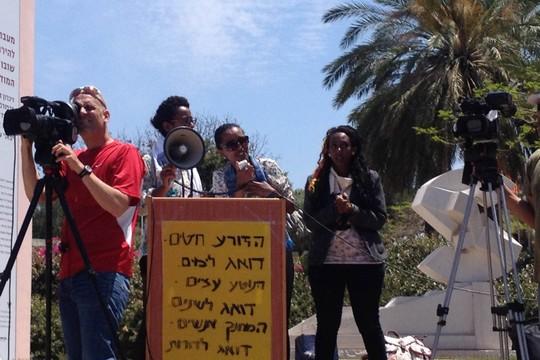 מארגנות הפגנת הסולידריות עם הקהילה האתיופית באוניברסטית תל אביב (ענבל בן יהודה)