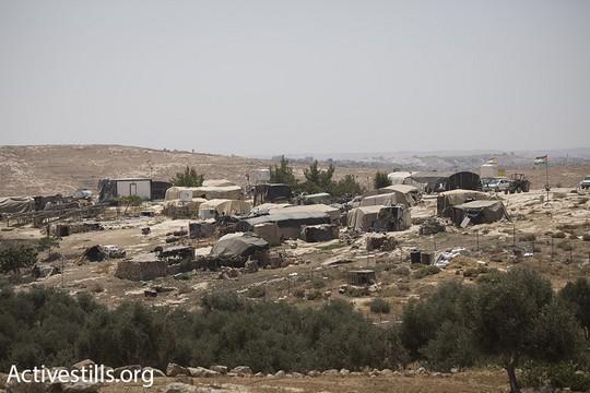 האוהלים שמהווים את מרבית הכפר סוסיא שתושביו עומדים בפני גירוש. (אורן זיו/אקטיבסטילס)