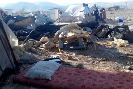 מתחם חמולת עובאיית באל פסאיל לאחר גל ההריסות האחרון (צילום: רבנים לזכויות אדם)