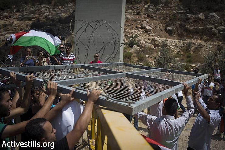 מפגינים פלסטינים אוחזים בשער שפירקו מגדר ההפרדה במהלך פעולה ישירה נגד בניית הגדר בבית ג'אלה הסמוכה לבית לחם, הגדה המערבית, 23 באוגוסט 2015. (אורן זיו/אקטיבסטילס)