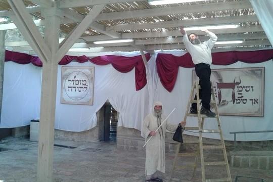 התקנת סוכה בסמוך לקבר דוד וחדר הסעודה האחרונה