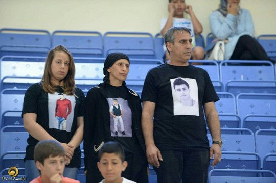 משפחתו של מחרוס זבידאת במשחק שנערך לזכרו בחיפה (צילום: וואיל עוואד)