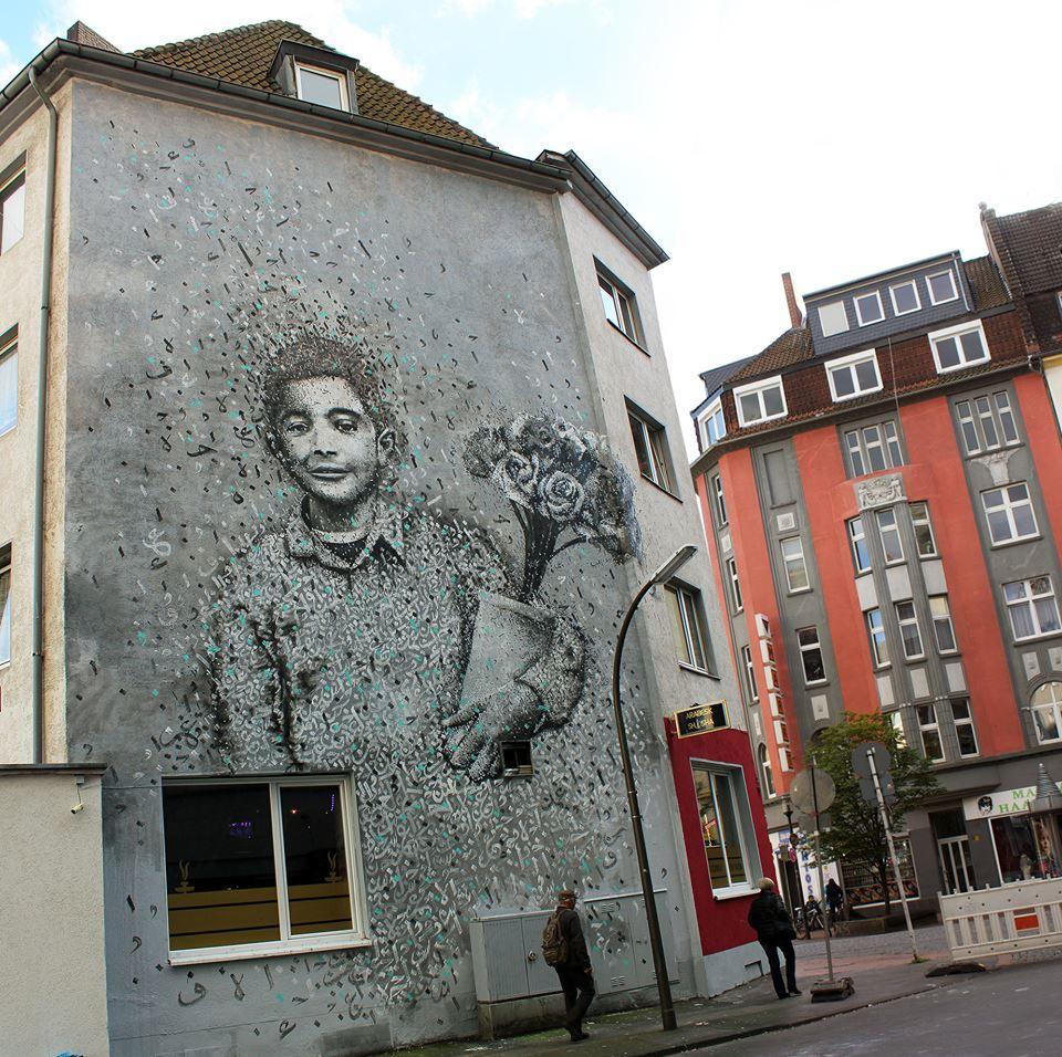 ציור הקיר של חלוואני  צילום: יאזן חלוואני
