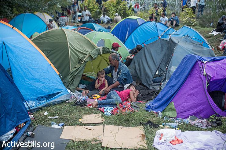 פליטים במחנה שהוקם בצד הסרבי בגבול סרביה-הונגריה הסגור, 15 בספומבר 2015. (יותם רונן/אקטיבסטילס)