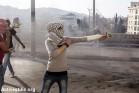 נערה פלסטינית זורקת אבנים על חיילים, בית לחם (אן פאק / אקטיבסטילס)