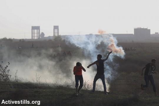הפגנה בעזה, קרוב לגדר נחל עוז (חוסאם סאלם / אקטיבסטילס)