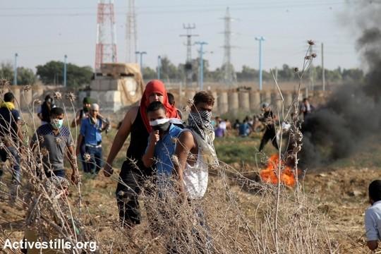 הפגנה במזרח רצועת עזה (עז זאנון / אקטיבסטילס)