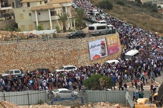 הפגנה נגד הוצאת התנועה האסלאמית מחוץ לחוק (דוברות הרשימה המשותפת)