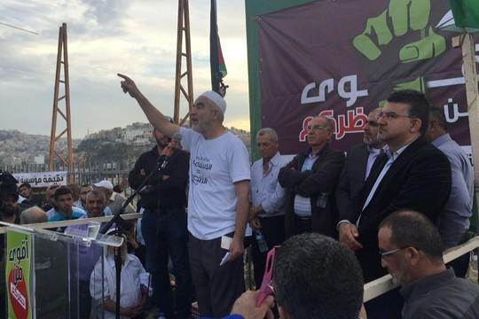 ראאד סלאח בעצרת התמיכה בתנועה האסלאמית, אום אל-פחם (דוברות הרשימה המשותפת)