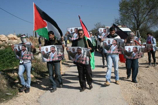 הפגנה בכפר בלעין לציון שנה למותו של השר זיאד אבו עין (חגי מטר)