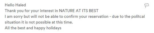 התשובה של המאחר מהתנחלות ענתות כבר פחות חביבה  (צילום מסך מתוך AirBnb )