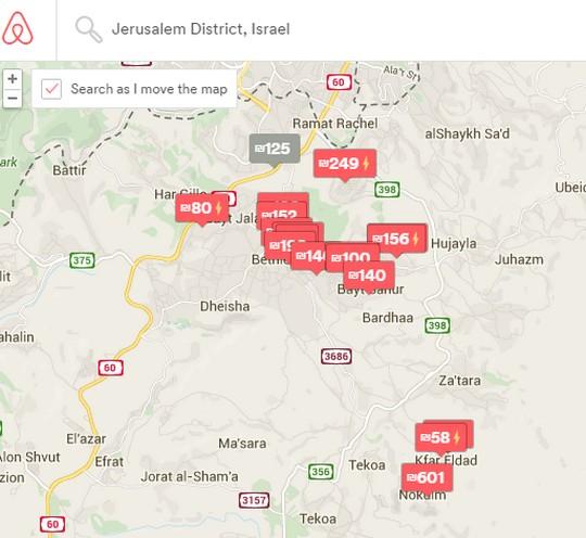מחוז ירושלים על פי האפליקציה נמתח עד ההתנחלות נוקדים (צילום מסך מתוך AirBnb)