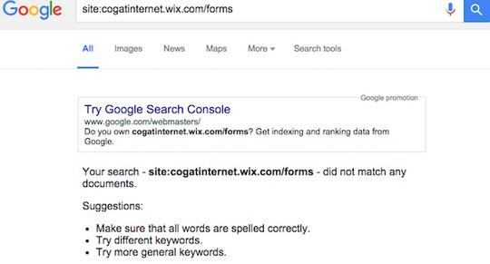 """גוגל אינו מצליח לאתר את כתובת האתר הזמני שהקים מתפ""""ש. 14 בינואר 2016 (צילום מסך)"""