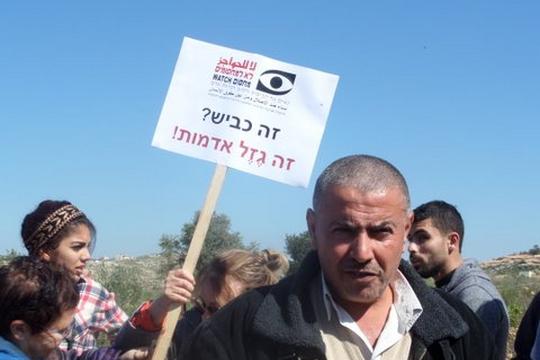 הפגנה פלסטינית-ישראלית נגד כביש עוקף נבי אליאס (שושי ענבר)