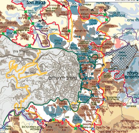 מפת ירושלים. בצהוב: גבולות העיר. באדום: החומה. בירוק: הקו הירוק (המפה באדיבות בצלם)
