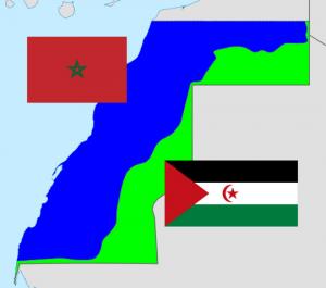 סהרה המערבית: גבולות השטחים הנשלטים על ידי פוליסריו (ירוק) ומרוקו (כחול). מקור: ויקיפדיה, Abjiklam CC BY-SA 4.0