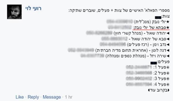 פרסום בפייסבוק נגד שוברים שתיקה