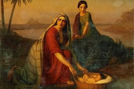 עוד נשים שבהן אפשר לדבר. יוכבד ומרים מחביאות את משה בתיבה בין קני הסוף (אלכסיי טיראנוב, 1839)