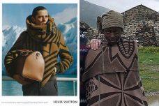 """מימין: רועה במדינת לסוטו לובש שמיכת בסוטו מקורית. משמאל: כרזה של לואי ויטון ל""""שמיכה עוטפת"""" בסגנון בסוטו (Fihliwe CC BY-SA 2.0 , לואי ויטון)"""