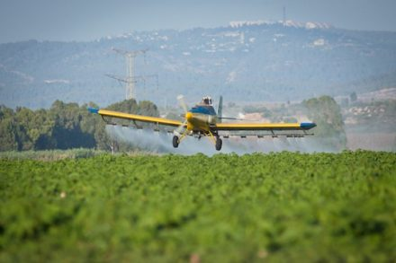 מטוס ריסוס מפזר חומרי הדברה מעל אדמות חקלאיות. אילוסטרציה (משה שי/פלאש 90)