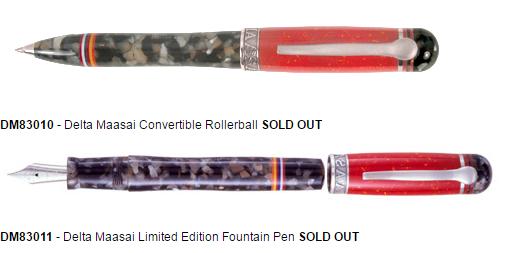 """עטים מסדרת """"מסאי"""" של חברת דלתא, שאזלו מהמלאי לאחר שנמכרו כולם (חברת דלתא)"""