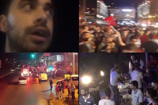 מימין למעלה בכיוון השעון: מפגינים באנקרה, פצועים מפונים באלונקה באיסטנבול, אמבולנסים באנקרה ומפגין שמדווח מכיכר תקסים (צילומי מסך מפייסבוק לייב)