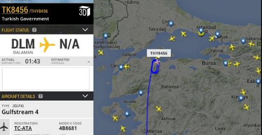 שידור חי מראה את המטוס של ארדואן חג בשמי תורכיה (צילום מסך)