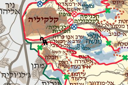 הכפר ערב א-ראמאדין לכוד בצד הישראלי של הגדר, ליד אלפי מנשה (מפה: בצלם)
