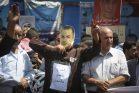 הפגנה ברמאללה למען שובת הרעב בילאל כאיד, אוגוסט 2016. מאז הפסיק כאיד את שביתתו בתמורה להבטחה לשחרור (STR / פלאש90)