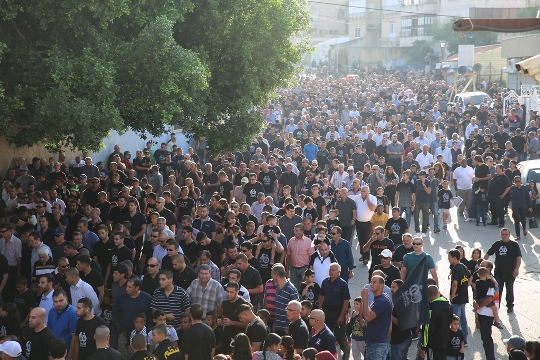 הצעדה לציון הטבח בכפר קאסם הבוקר (צילום: דוברות הרשימה המשותפת)