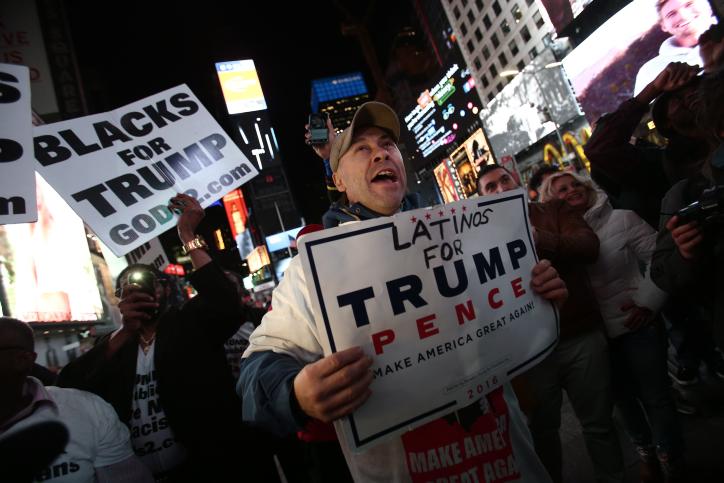 תומכי דונלד טראמפ חוגגים, כיכר טיימס בניו יורק (נעם ריבקין פנטון / פלאש90)